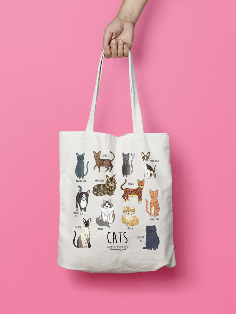 Illustrated cat bag - cat tote bag | Fond Company