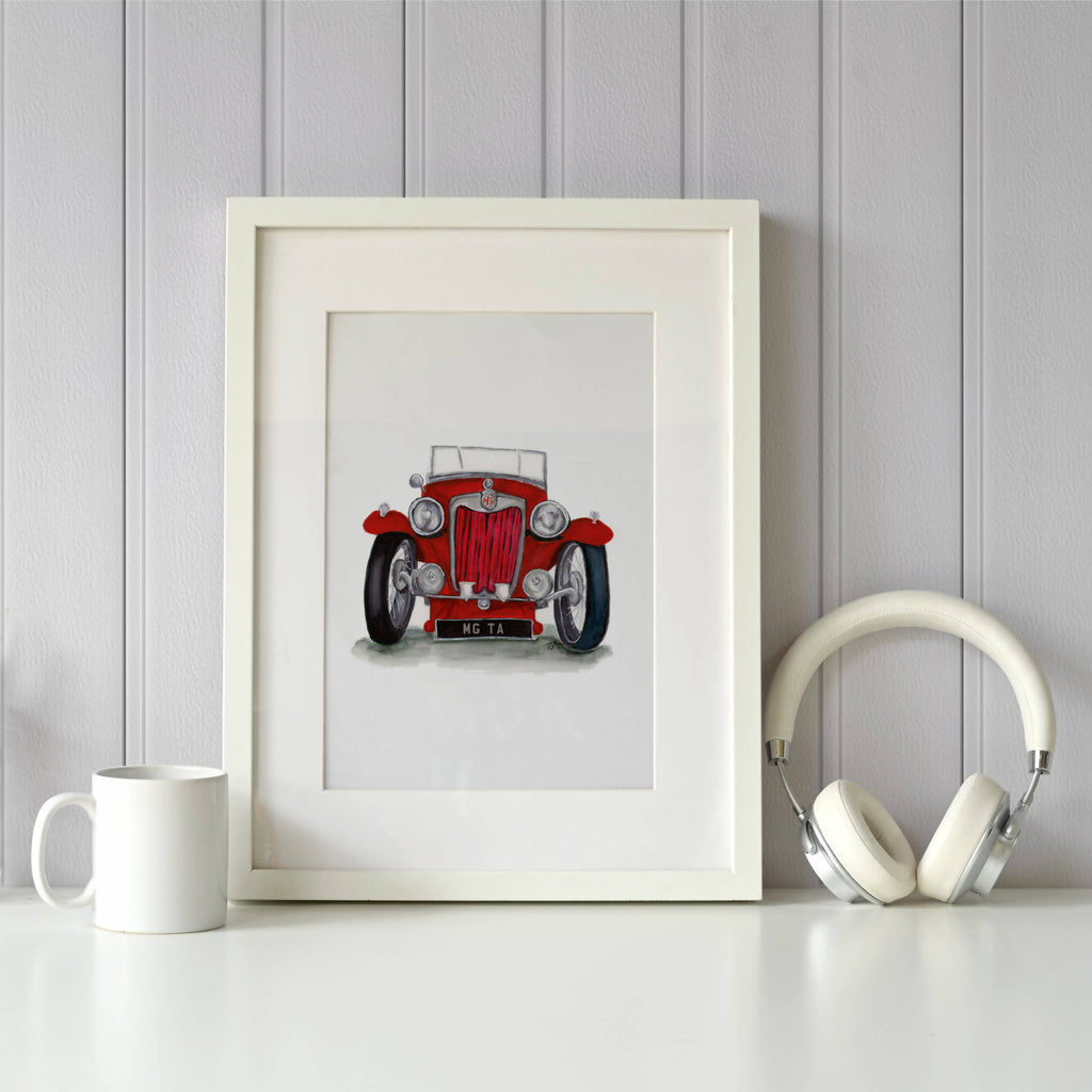 MG TA Front View Illustration Car Print - Personalised Option