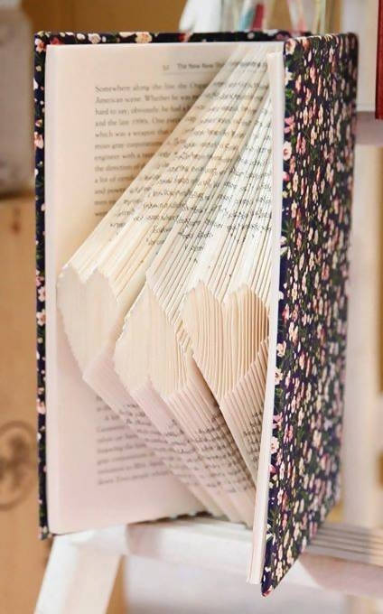Hearts Folded Book Art