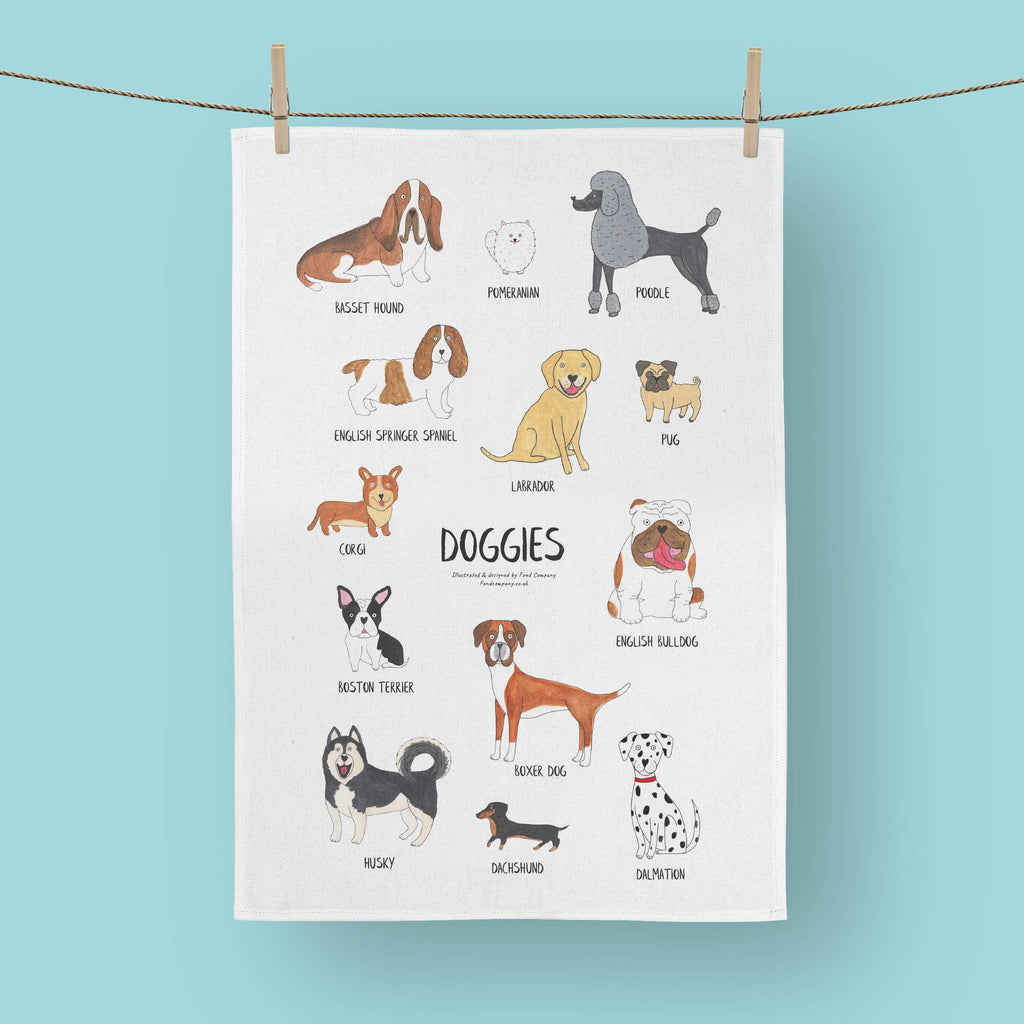 Illustrated doggy tea towel - dog tea towel | Fond Company