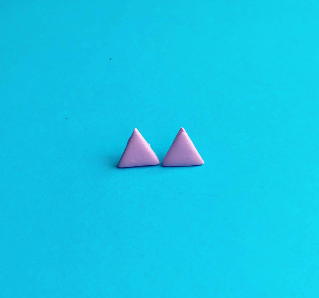 Lilac triangle clay earrings