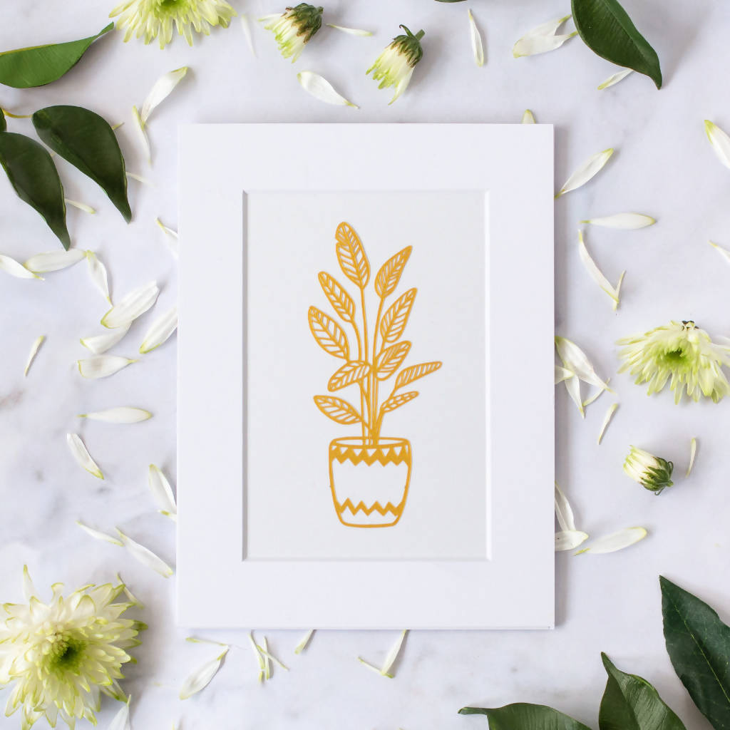 Gold House Plant Paper Cut