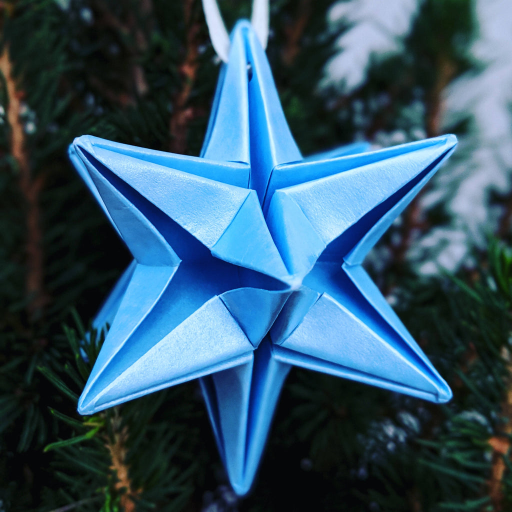 blue origami paper star bauble