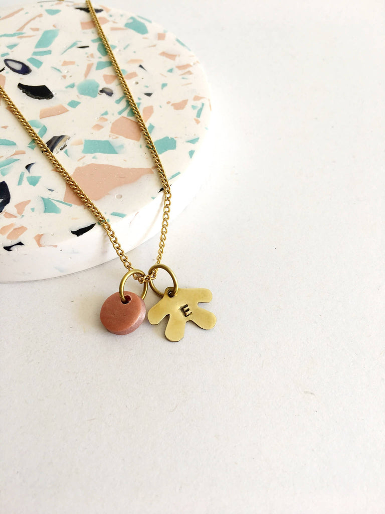 Personalised Brass Coral Necklace