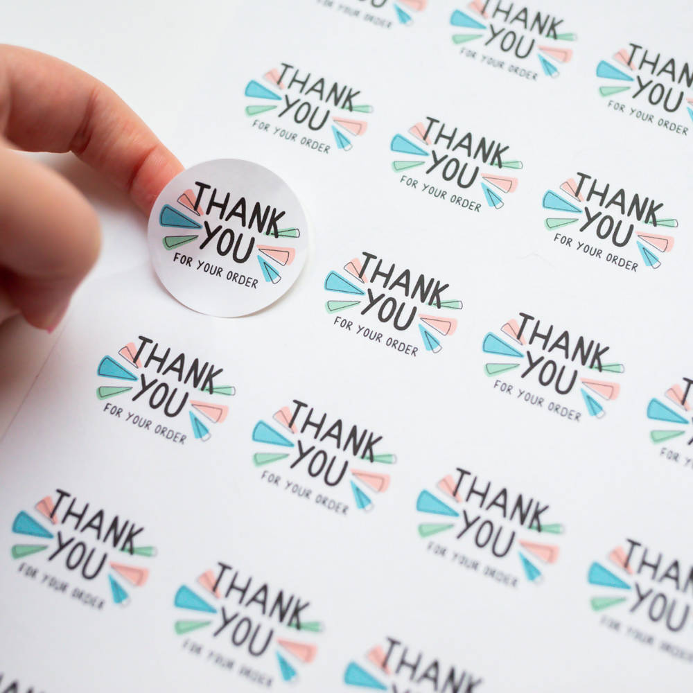 35x Thank You For Your Order Stickers, Eco Friendly