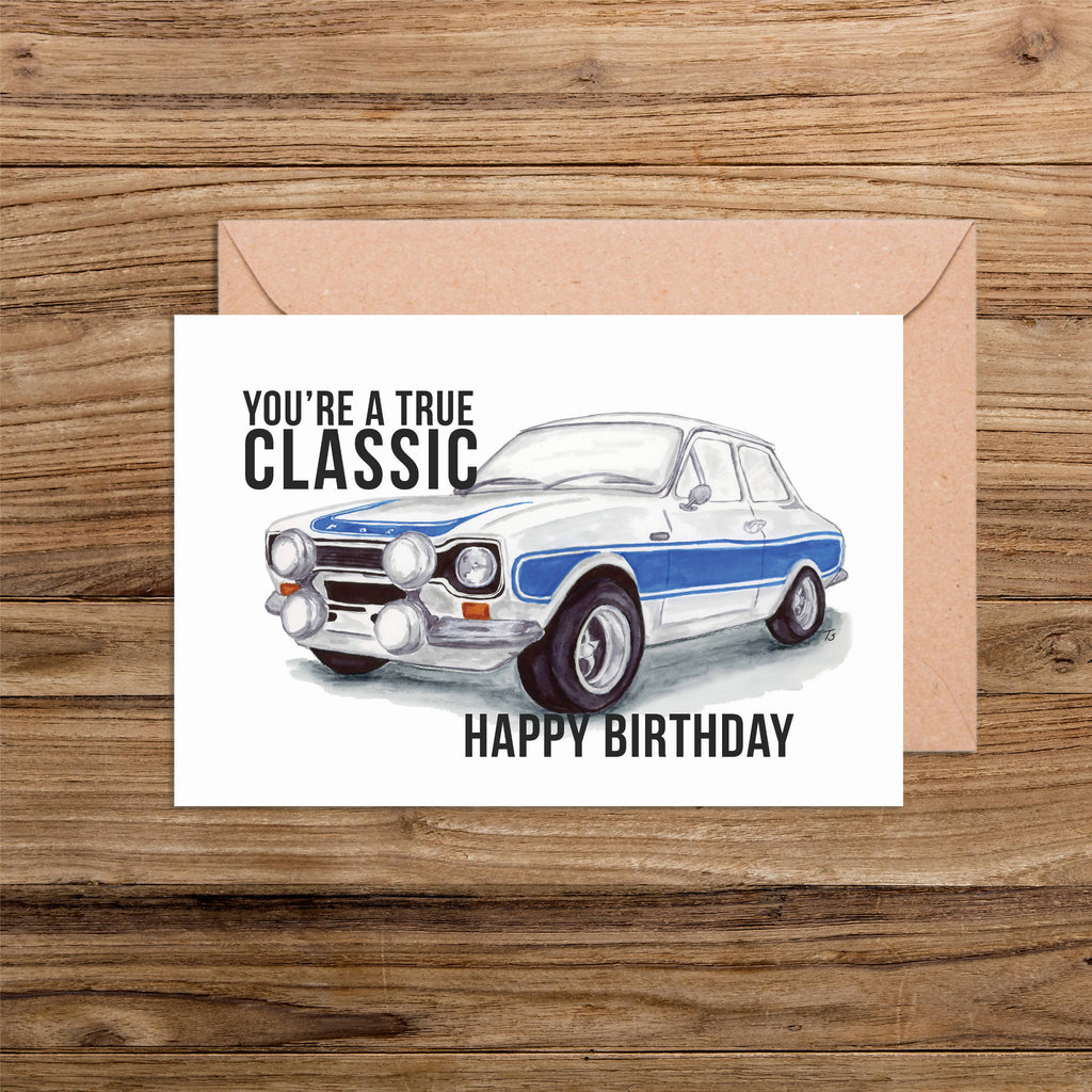 Happy Birthday You're a True Classic Car Illustration Handmade and Printed A6 Card