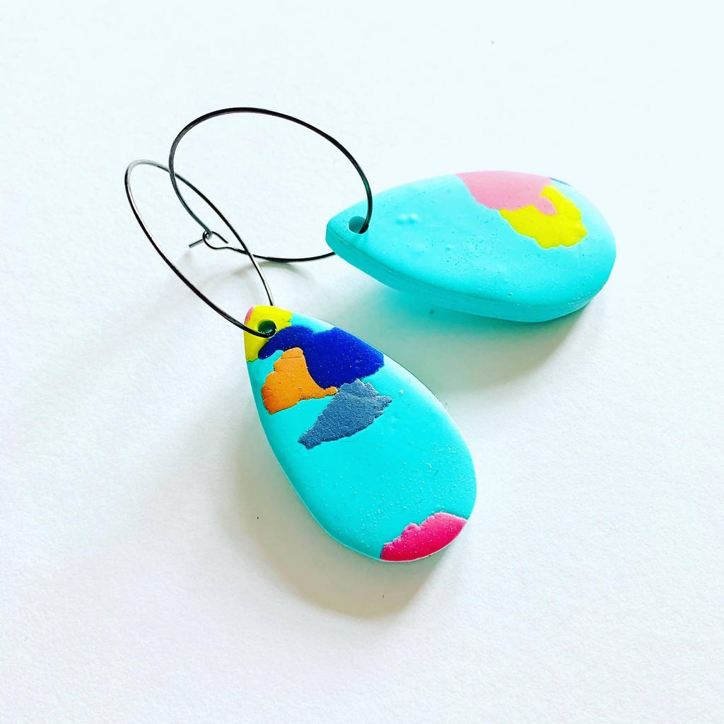 Aqua terrazzo hoop earrings