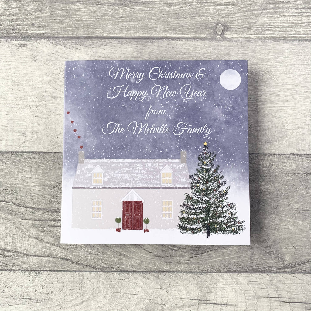 Personalised Christmas Cottage Card from individual, couple or family