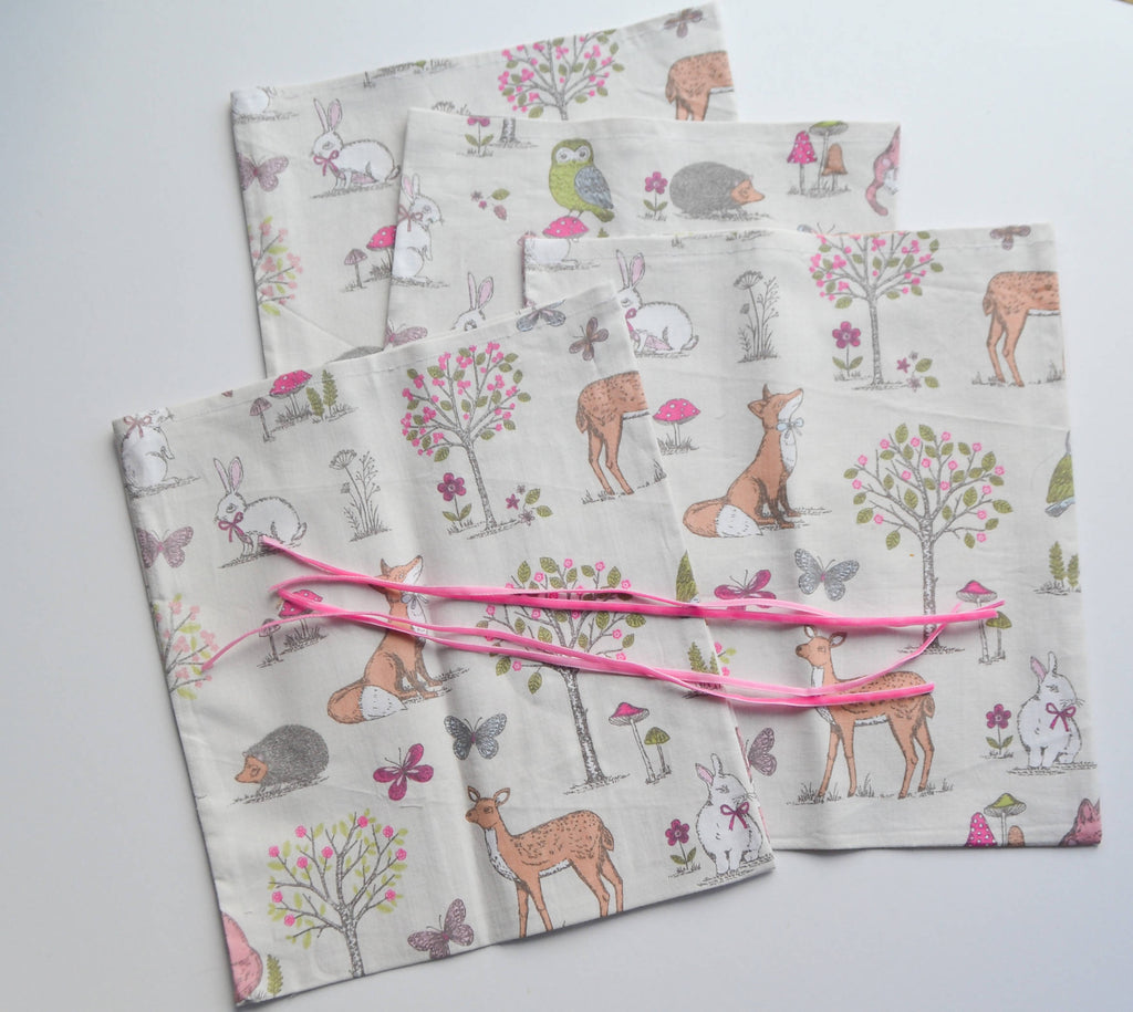 Woodland Animal Fabric Reusable Gift Bags Set