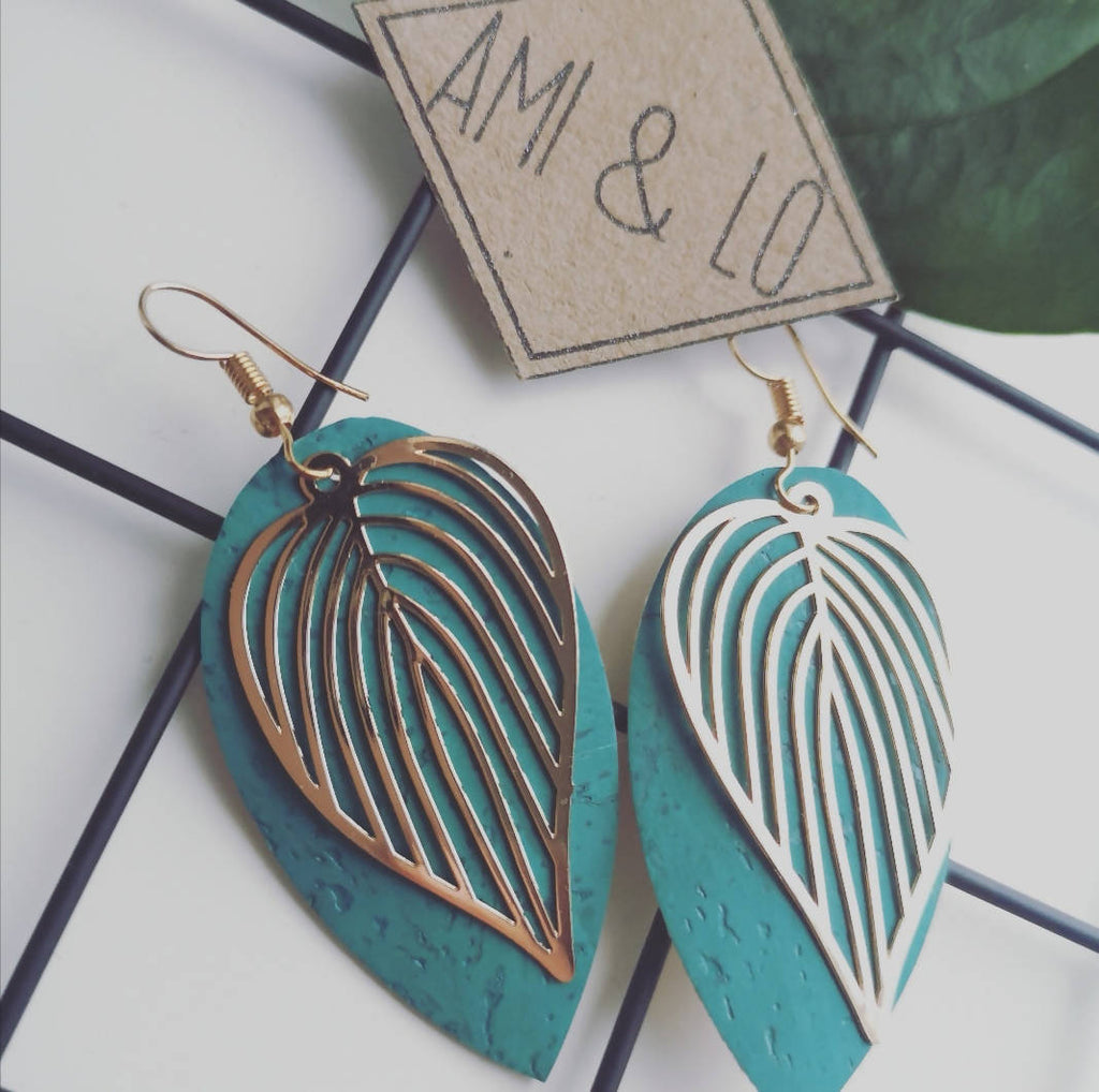 Turquoise Cork leather Leaf design statement earrings, Ami and Lo, Andsotoshop