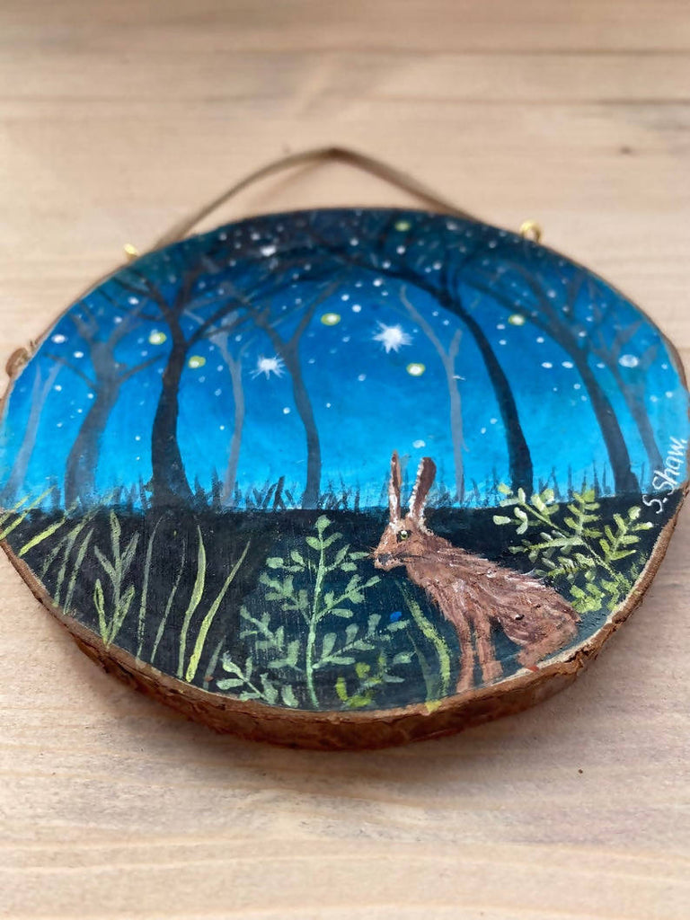 Original Hare Art - Wood Slice Painting - Painting on Wood - Acrylic Hare Painting - Amazing Animal Art - Unique Art Kids Decor - Unique Art