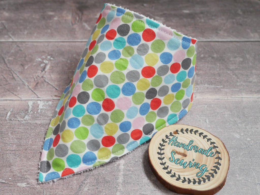 Bright multicoloured circles bamboo baby bib