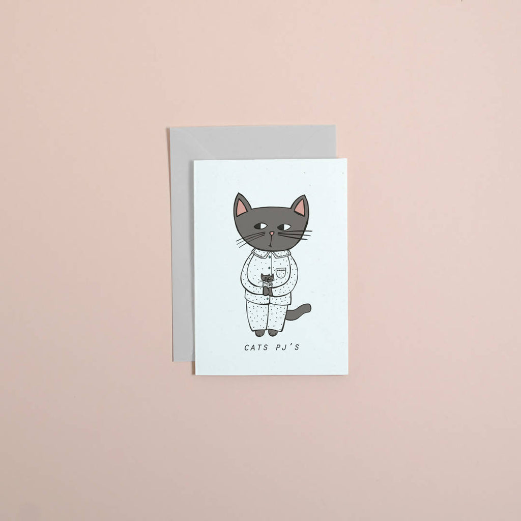 CATS PJ'S // cat greetings card // birthday card // you're the best card // Valentine's Day // illustrated card // galentines