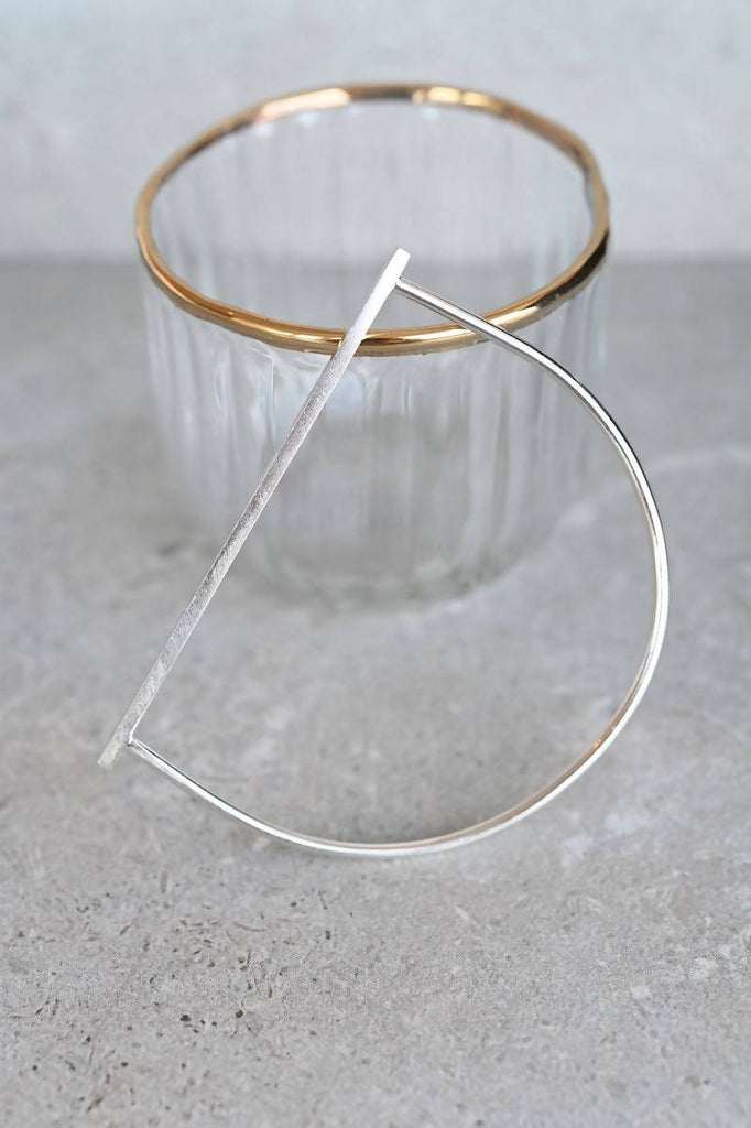 Sterling Silver Round and Square Bangle