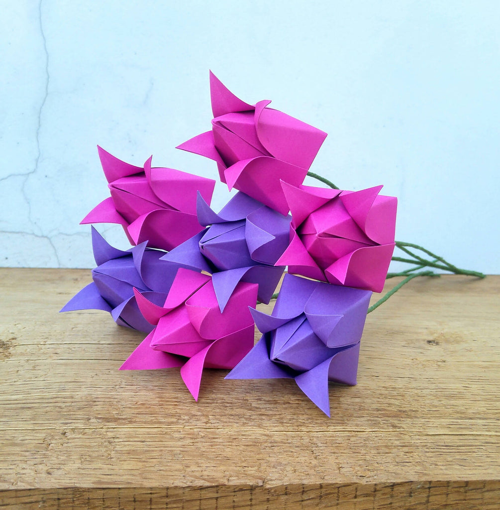 Pink and purple origami paper tulips
