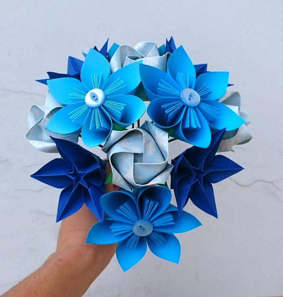 blue origami flower bouquet
