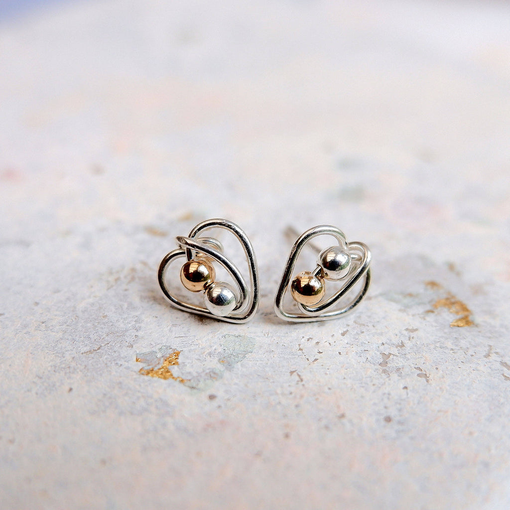 Silver Heart Gold Mix Stud Earrings