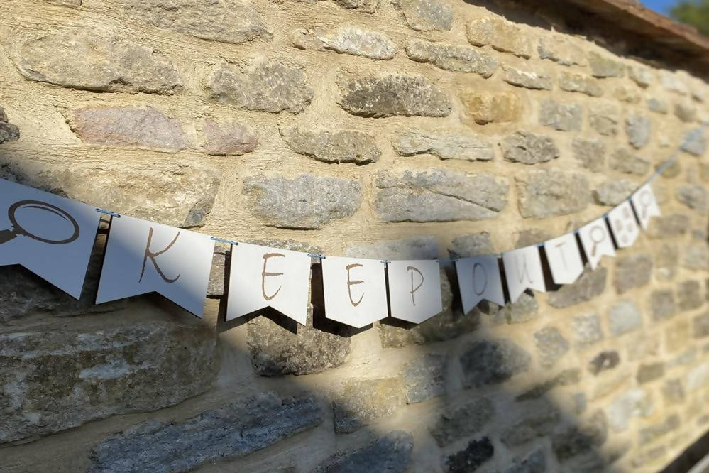 'Keep Out' Bunting In A Box