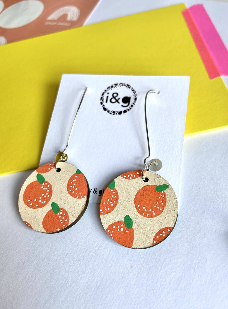 Orange Print Fruit Drop Dangle Hand Painted Wooden Earrings