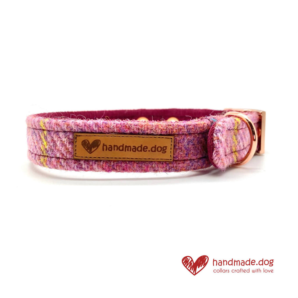 Raspberry Check 'Harris Tweed' Dog Collar