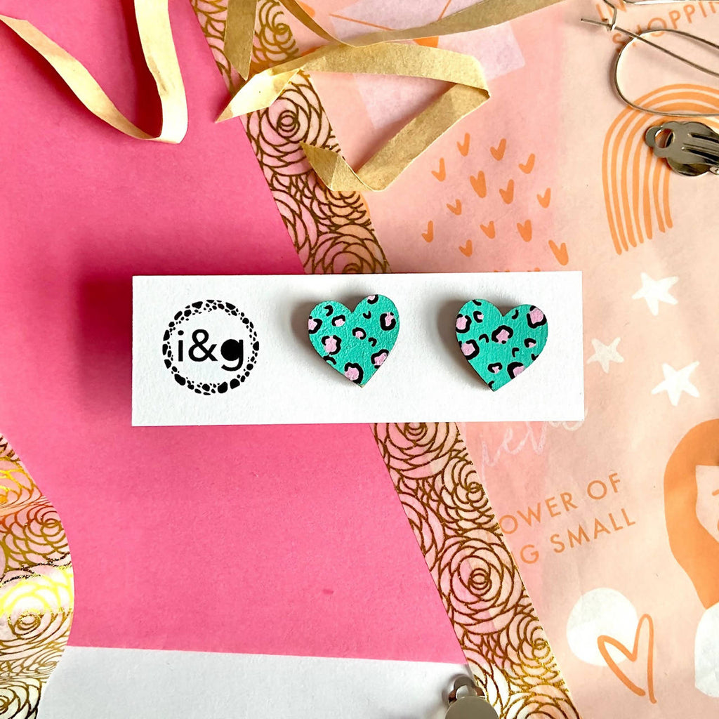 Mini Leopard Print Heart Studs Hand Painted Wooden Earrings