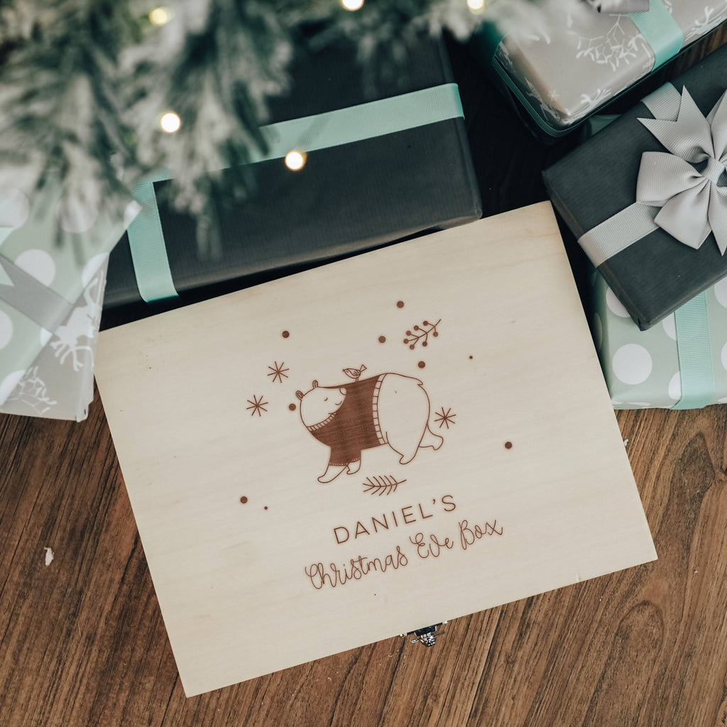 Christmas Eve Personalised Wooden Box with Bear