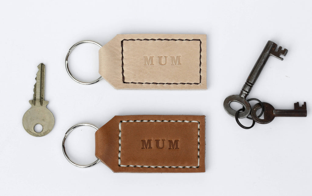 Personalised Leather Key Ring - Tan Brown or Cream
