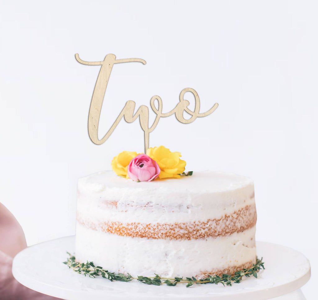 Wooden reusable Two script birthday cake topper