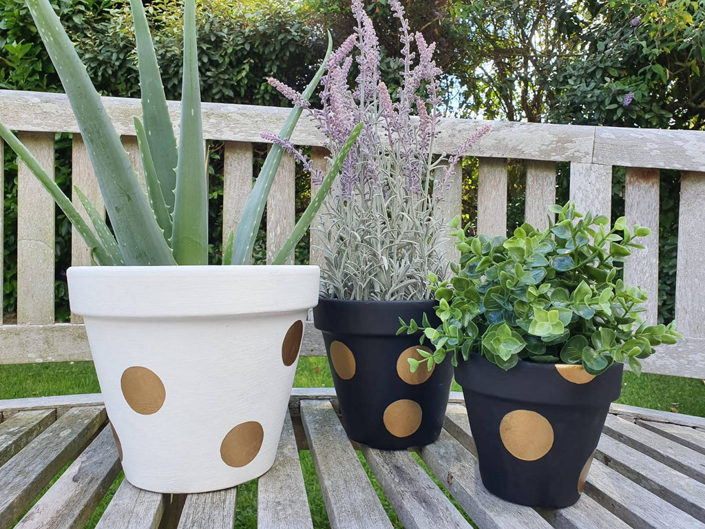 White & Gold Plant Pot