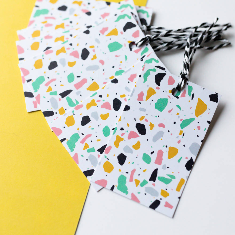 White Terrazzo Gift Tags, With Recycled Card