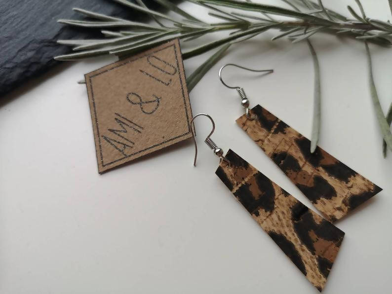 Leopard Print cork leather bar earrings by Ami and Lo