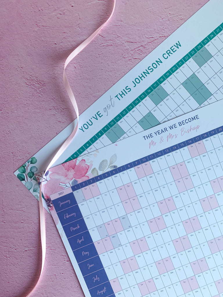 Personalised 2021 Motivational Eucalyptus Floral Wall Planner