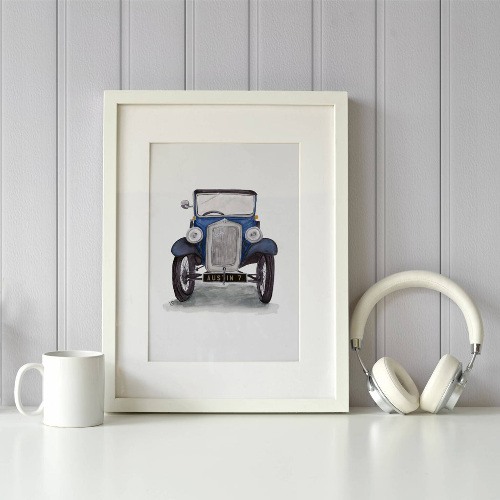 Austin 7 Saloon Front View Illustration Car Print - Personalised Option