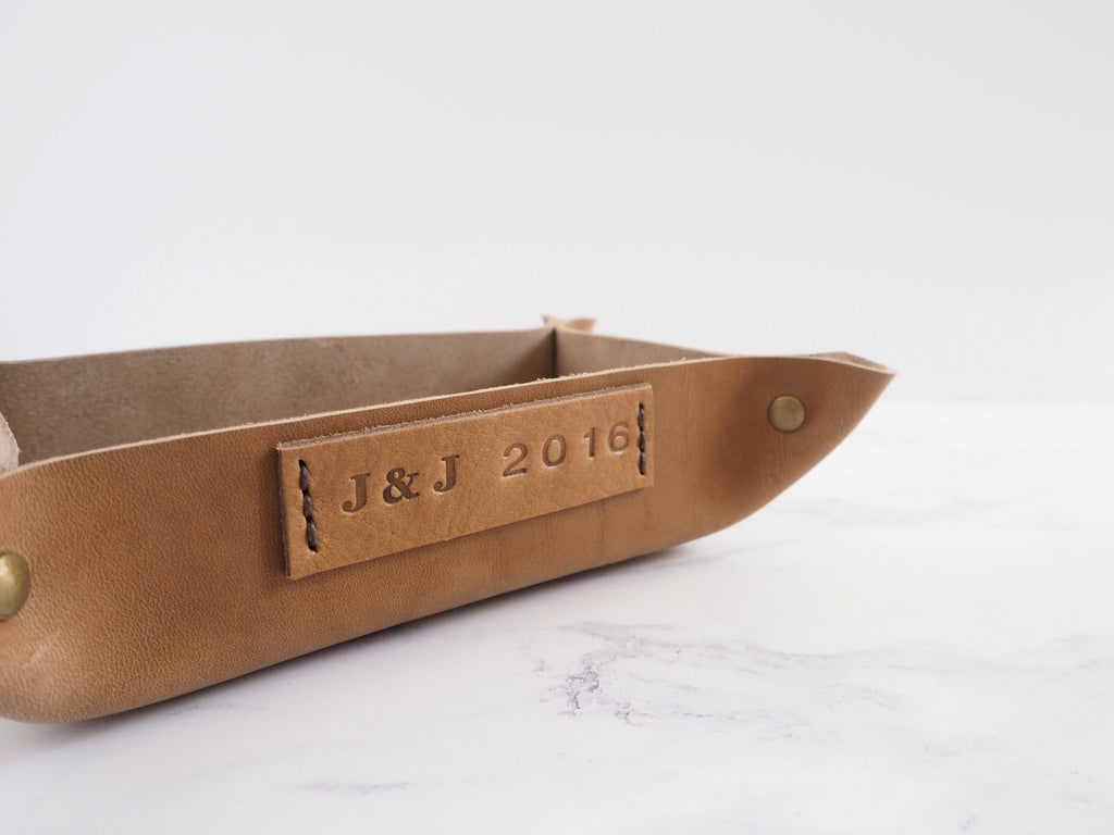 Small Personalised Leather Rectangular Valet Tray