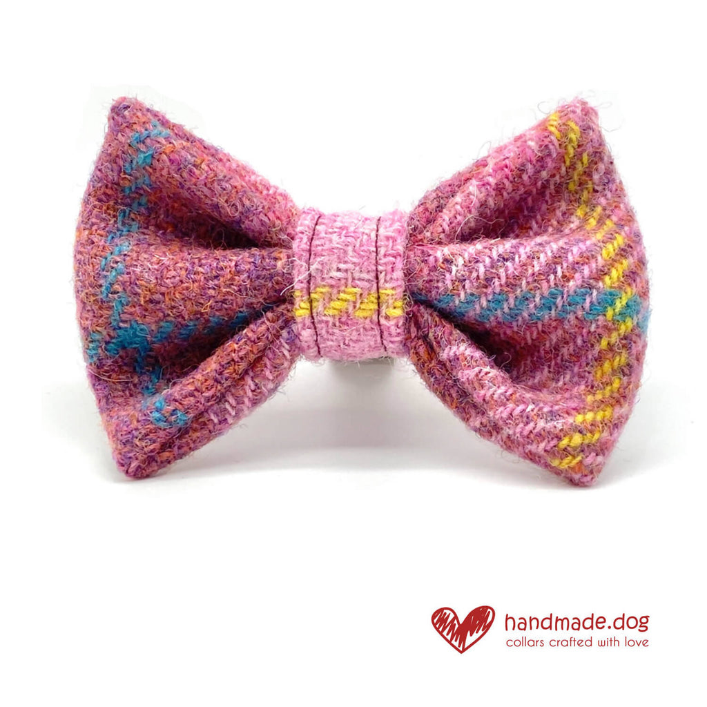 Raspberry Check 'Harris Tweed' Dog Bow Tie