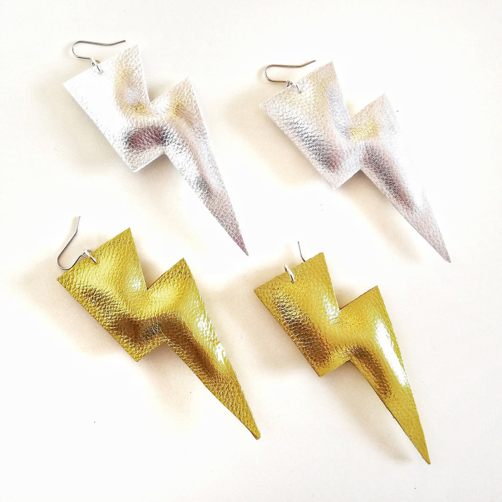 Super Disco Bolt Lightning Bolt Earrings - Metallic Leatherette Collection
