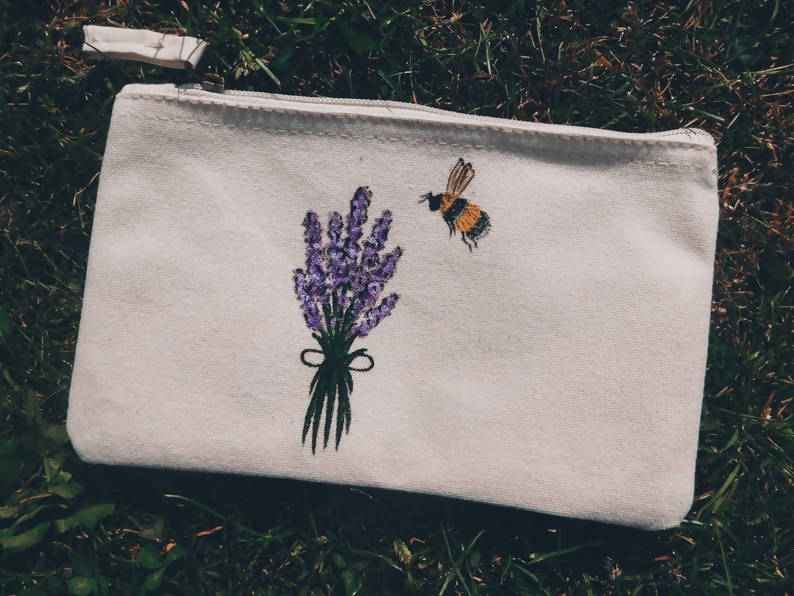 Lavender & Bee Hand Painted Organic Cotton Accessory Pouch