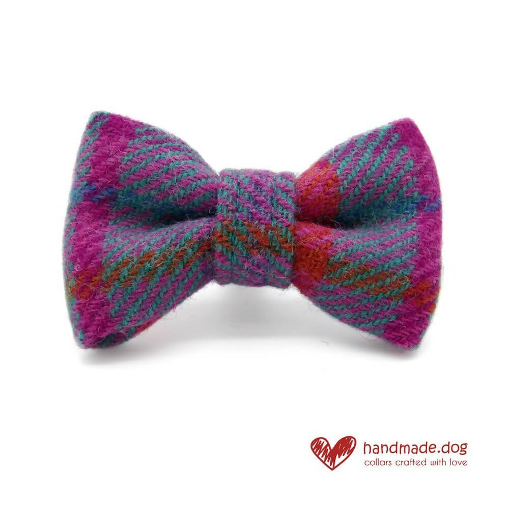 Purple Check 'Harris Tweed' Dog Bow Tie