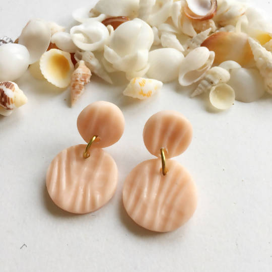 Shell Imprinted Polymer Clay Statement Earrings