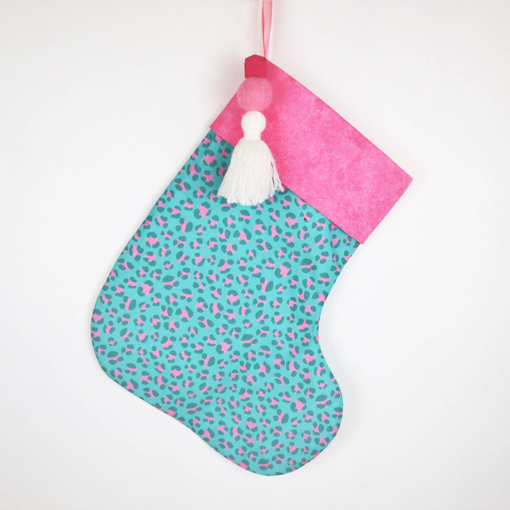 Personalised Teal and Pink Leopard Print Christmas Stocking