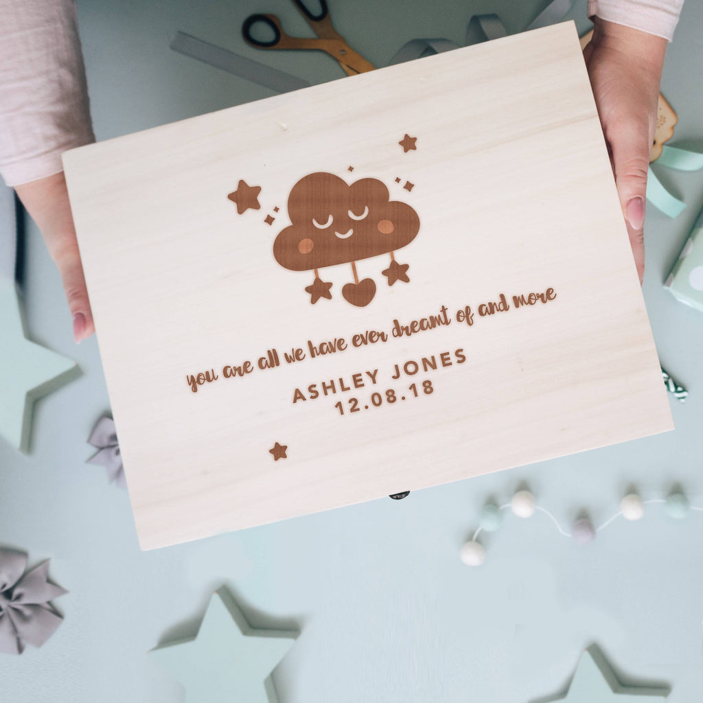 'Your Are All We Have Ever Dreamt Of....' Engraved Wooden New Baby Memory Box