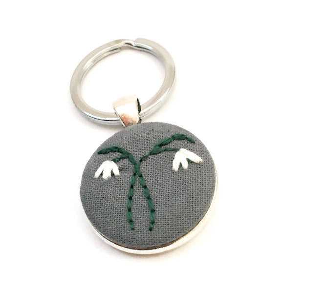 Embroidered Snowdrop Keyring