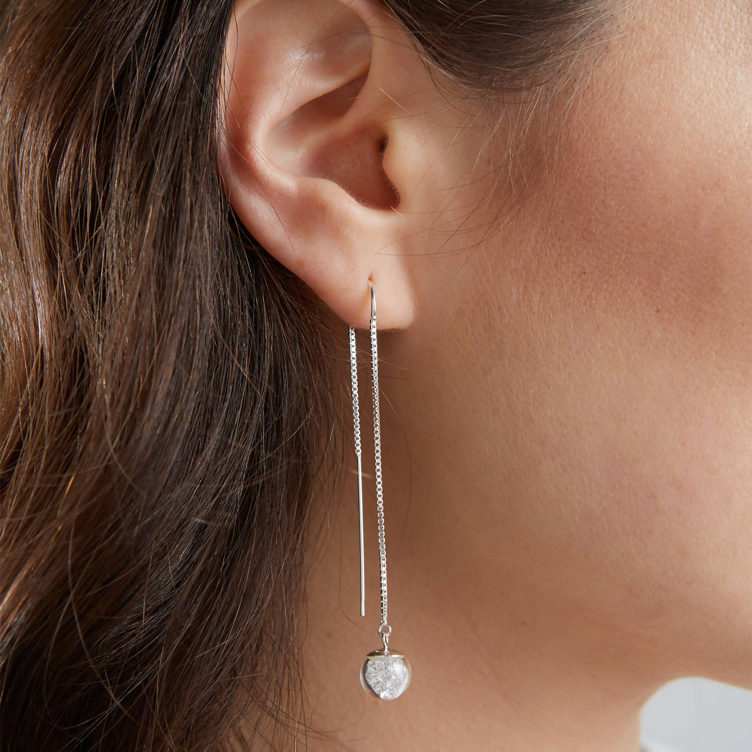 Pull Through Sterling Silver Crystal Earrings