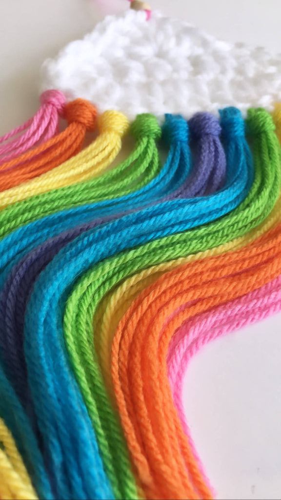 Hanging Crochet Rainbow Clouds