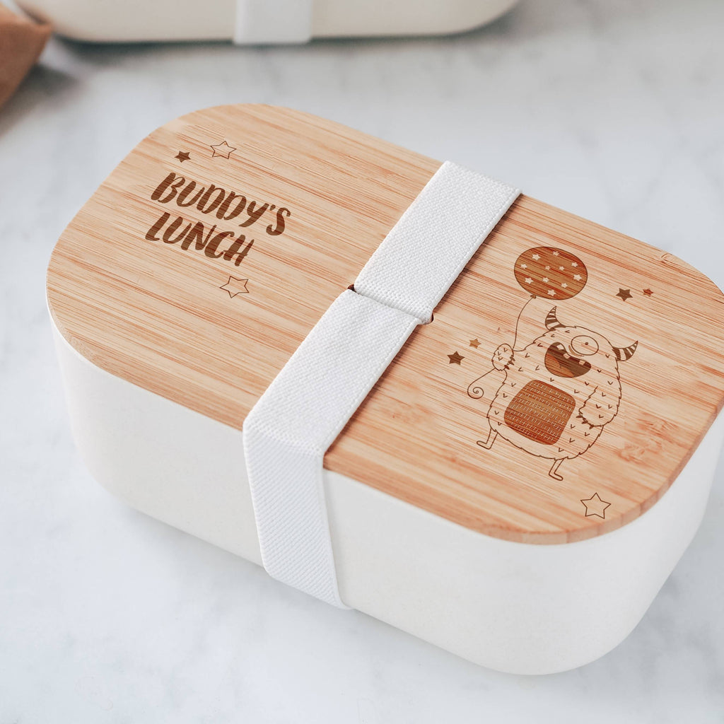 Engraved Eco Bamboo Lunch Box with Little Monster