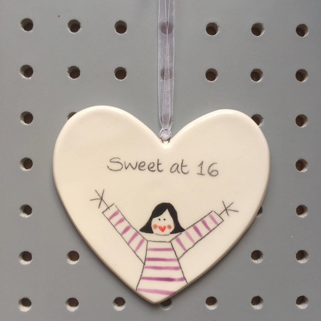 16 - Sweet at 16 - Hand painted Ceramic Heart