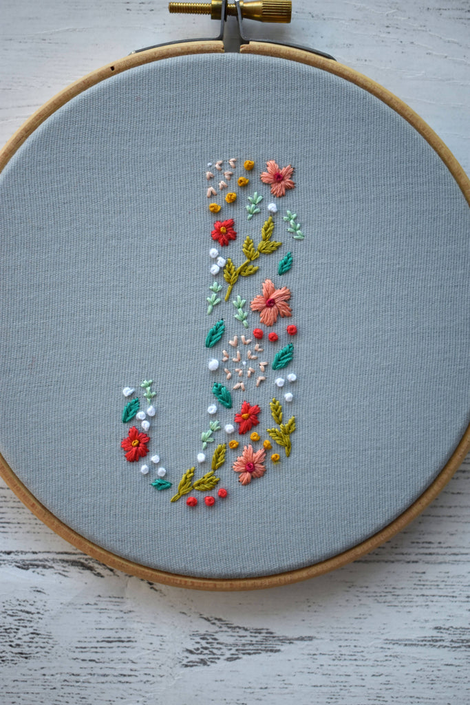Floral Letter Embroidery Hoop