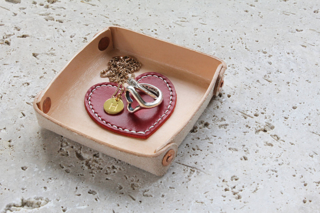 Personalised leather ring tray