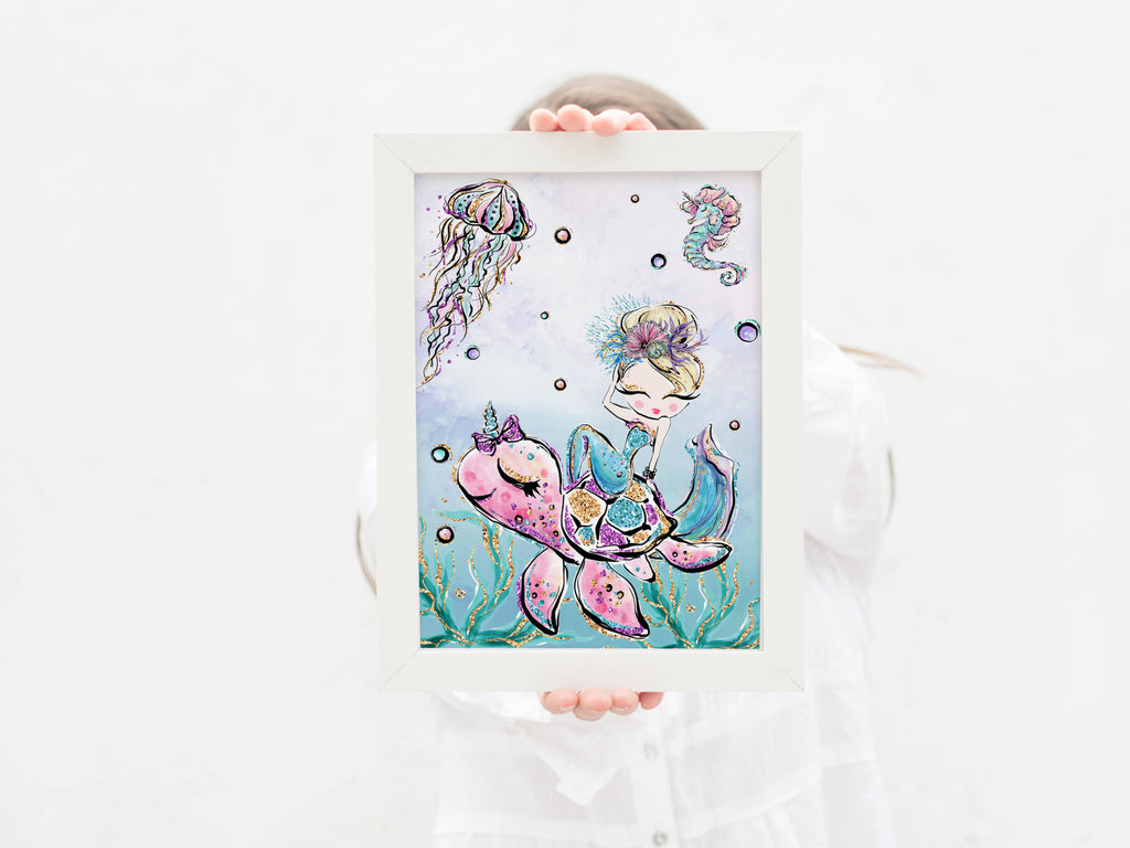 Colourful Glitter Mermaid Print