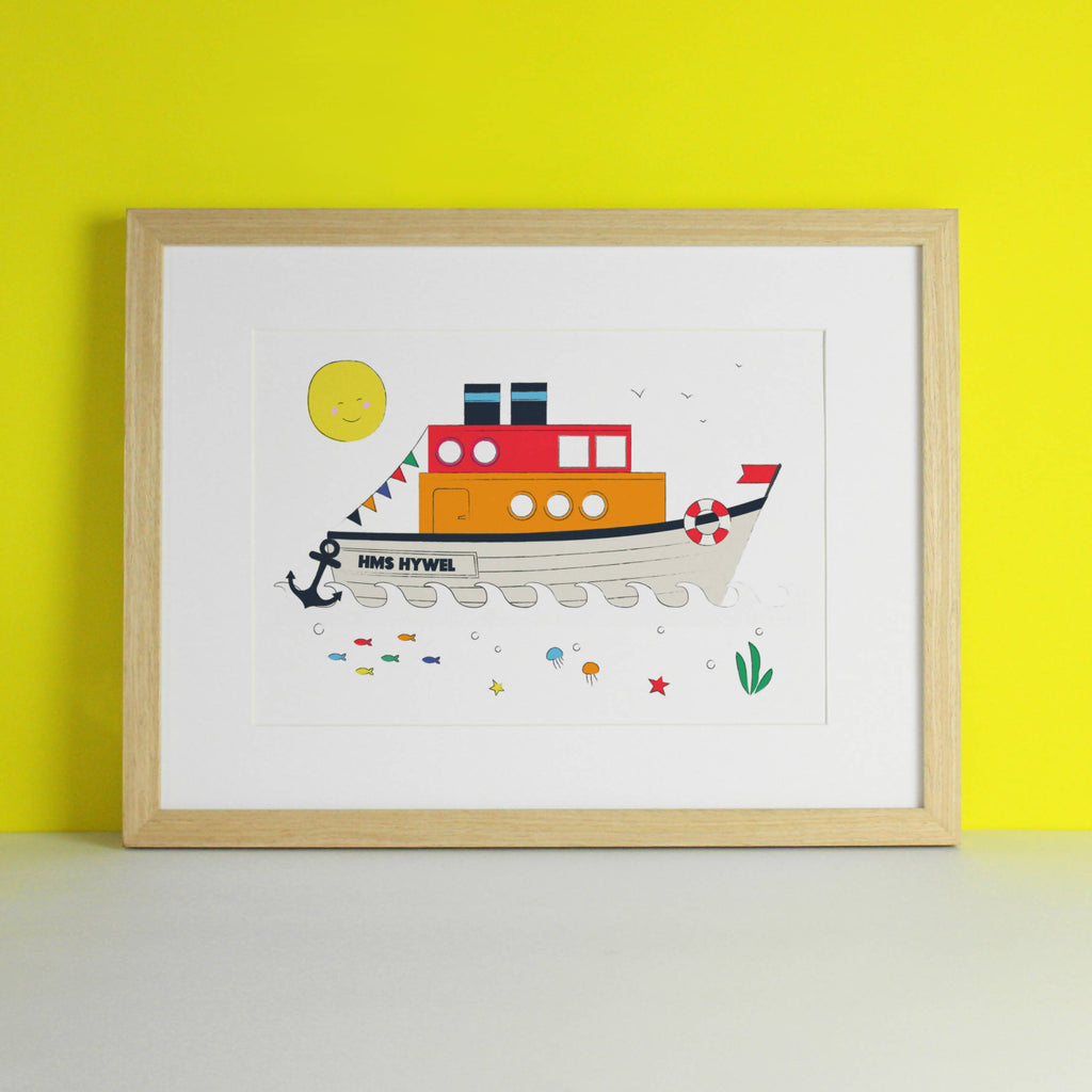 Personalised HMS Boat Boy's Nautical Nursery Art Print